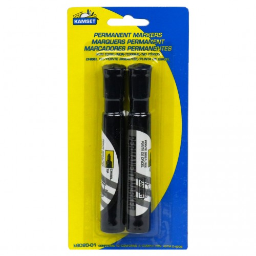 Permanent Markers, 2PK; Black, Chisel Tip
