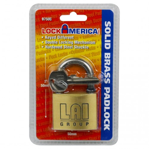 LAI Brass Lock - 50mm; 6/Box (RETAIL PKGD)